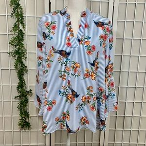 Cure Bell Sleeve Striped Floral Bird Blouse